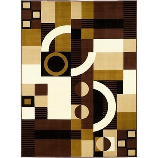 LYKE Home Print Dark Brown Polypropylene Area Rug ( 8' x 10')