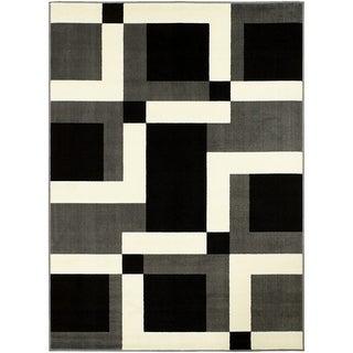 LYKE Home Abstract Square Grey Polypropylene Area Rug ( 8' x 10')
