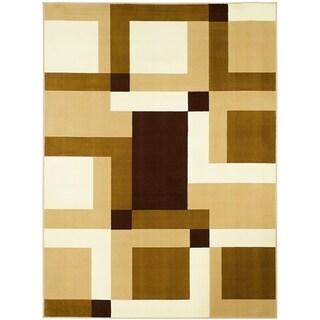 LYKE Home Color Block Brown Polypropylene Area Rug ( 8' x 10')