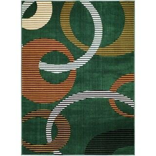 LYKE Home Geometric Green Polypropylene Area Rug ( 8' x 10')