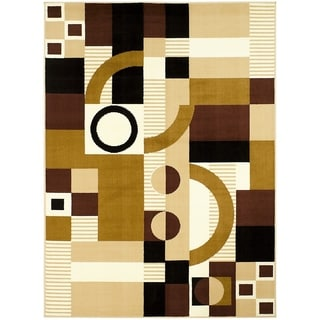 LYKE Home Print Brown Polypropylene Area Rug ( 5' x 7')