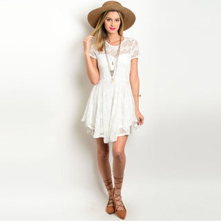 Shop the Trends Women's Short Sleeve Fit and Flare Lase Dress with Sweetheart Neckline