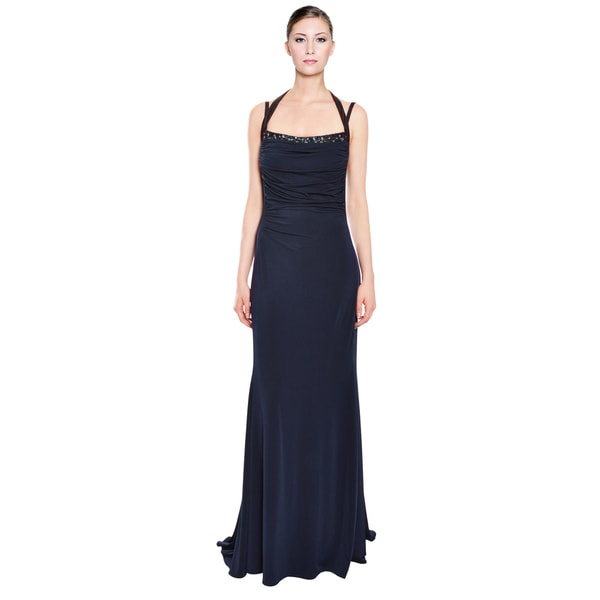 Xeniya Navy Stretch Beaded Long Evening Gown Dress (Size 12)