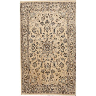 Herat Oriental Persian Hand-knotted Nain Ivory/ Blue Wool & Silk Rug (4' x 6'10)