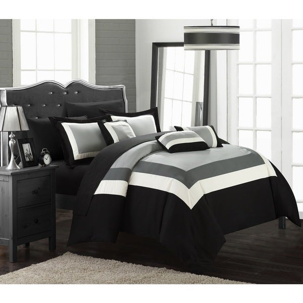 Chic Home Darren Black/White 10-Piece Bed in a Bag with Sheet Set