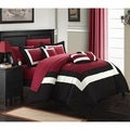 Chic Home Darren Red/White/Black 10-piece Bed in a Bag with Sheet Set