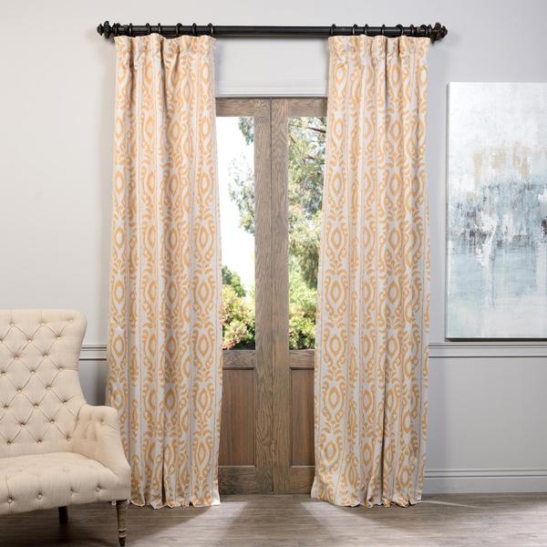 Exclusive Fabrics Pemba Gold Floral Print Blackout Curtain Panel Pair