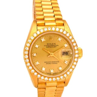 Pre-owned 26mm Rolex 18k Yellow Gold Women's President Datejust Crown Collection Watch