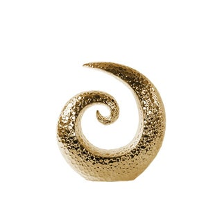 Polished Gold Chrome Finish Ceramic Embossed Circle Small Spiral Sculpture