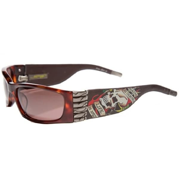 Ed Hardy EHS-015 Death Is Certain Tortoise/Brown Sunglasses