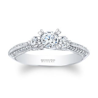 Matthew Ryan 14k White Gold 3/4ct TDW Diamond 3-stone Engagement Ring (G-H, SI1-SI2)