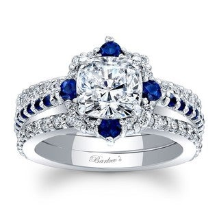 Barkev's Designer 14k White Gold 1/4ct TDW Cushion-cut Diamond and Blue Sapphire 3-piece Bridal Set (F-G, SI1-SI2)