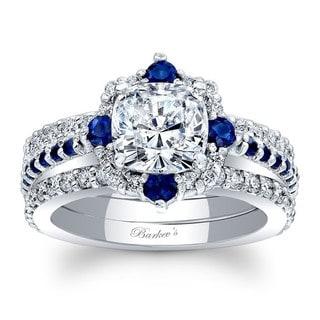 Barkev's Designer 14k White Gold 1/4ct TDW Cushion-cut Diamond and Blue Sapphire 3-piece Bridal Set (F-G, SI1-SI2)