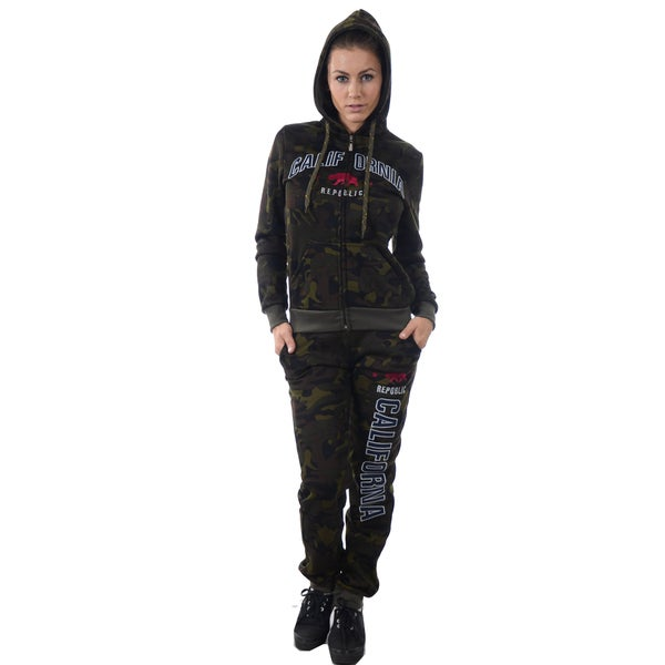 Women's Light Fleece Set Hooded Camouflage 2-piece Embroidered Tracksuit