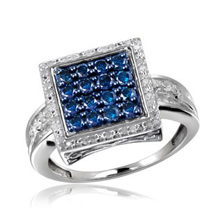 Jewelonfire Sterling Silver 1ct TDW Blue and White Diamond Square Ring ( I2-I3)