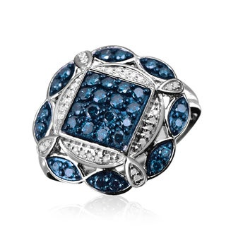 Jewelonfire Sterling Silver 1ct TDW Blue and White Diamond Ring ( I2-I3)