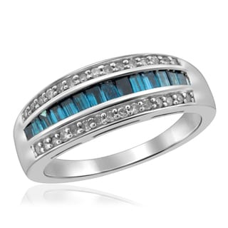 Jewelonfire Sterling Silver 3/4ct TDW Blue and White Diamond Ring ( I2-I3)