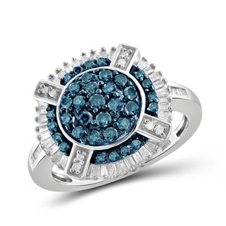 Jewelonfire Sterling Silver 1ct Diamond Round Shape Ring - Blue