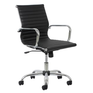 OFM Essentials Black Leather Office Chair with Chrome Accents