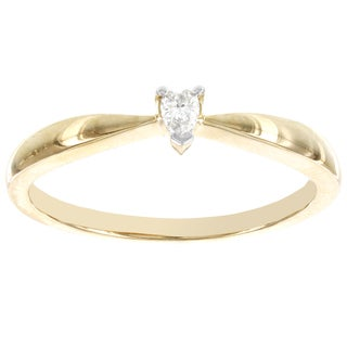 H Star 14k Yellow Gold Diamond Accent Heart Shaped Solitaire Promise Ring (H-I, I2-I3)