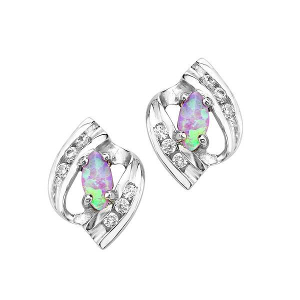 Sterling Silver Cubic Zirconia and Opal Earrings