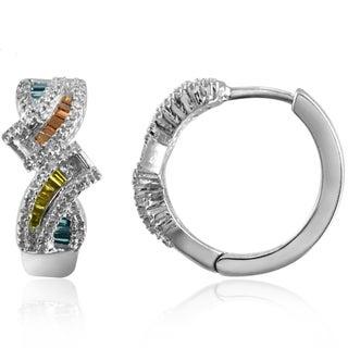 Jewelonfire Sterling Silver 1/2ct TDW Multi Color Diamond Earrings ( I2-I3)