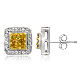 Jewelonfire Sterling Silver 1/3ct TDW Yellow and White Diamond Earrings ( I2-I3)