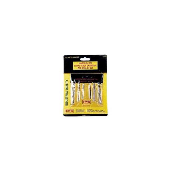 Irwin Hanson 53700 6 Piece Spiral Screw Extractor & Drill Bit Set