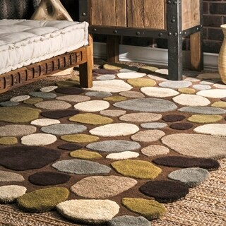 nuLOOM Hand-Carved Stones and Pebbles Wool Natural Runner Rug (2'6 x 8')