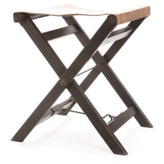 Hip Vintage Folding Leather And Wood Camp Stool