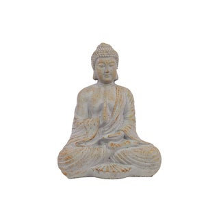 Light Grey Cement Meditating Buddha Figurine in Abhaya Mudra Pose with Rust Accents