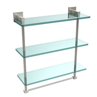 Allied Brass Montero Collection 16-inch Triple Tiered Glass Shelf with integrated towel bar
