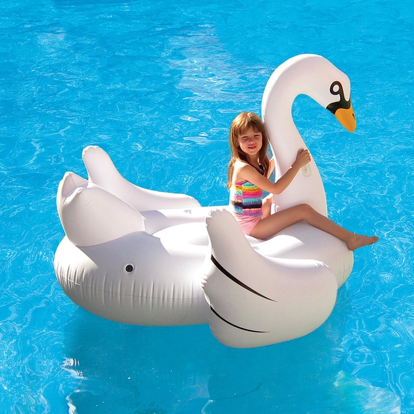 Elegant Giant Swan 72-in Inflatable Ride-On Pool Float