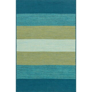 Indoor/ Outdoor Braided Blue/ Green Rug (5'0 x 7'6)