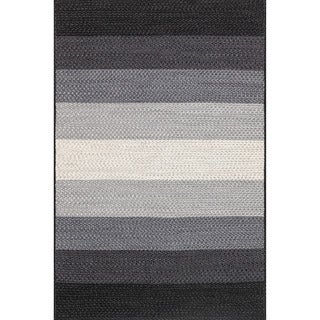 Indoor/ Outdoor Braided Black/ Ivory Rug (2'3 x 3'9)