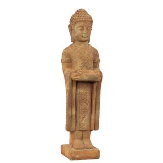 Stoneware Standing Buddha with Rounded Ushnisha Dhyana Mudra with Bowl on Base Matte Finish Tan