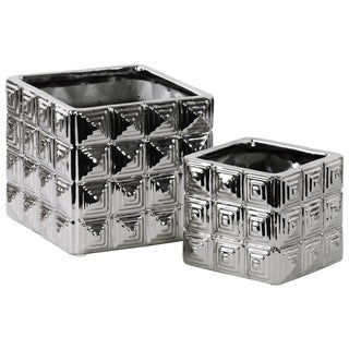 Ceramic Square Decorative Containers (Set of Two)