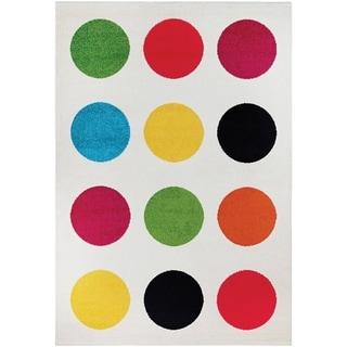 Power-Loomed Couristan Spectrum Polka/Beige-Multi Rug (5'3 x 7'6)