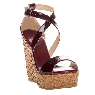 Jimmy Choo 'Portia' Patent Leather Cork Wedge Sandal