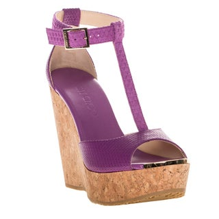 Jimmy Choo T-Strap Cork Wedge Sandals