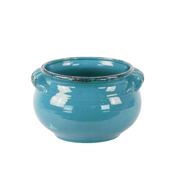 Distressed Blue Craquelure Gloss Finish Ceramic Tuscan Pot with Handles