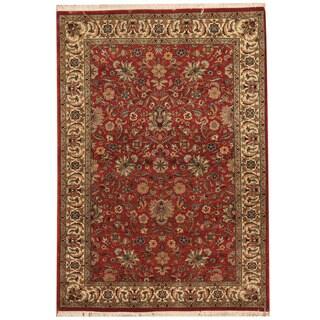 Herat Oriental Pakistani Hand-knotted Tabriz Red/ Ivory Wool Rug (4' x 5'10)