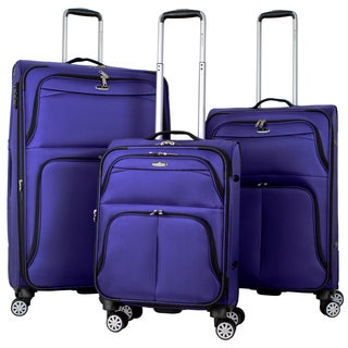 Gabbiano Tahiti 3-piece Expandable Softside 8-wheel Spinner Luggage Set