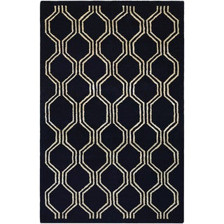 Hand-Tufted Couristan Amara Juneberry/Black-Cream Wool and Viscose Rug (8' x 10')