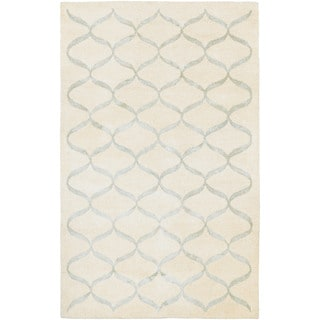 Hand-Tufted Couristan Amara Hera/Cream-Silver Wool and Viscose Rug (8' x 10')