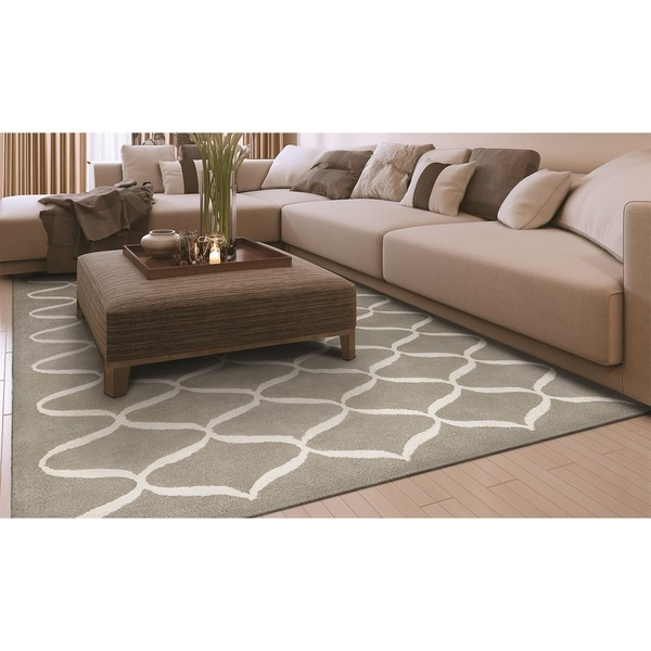 Hand-Tufted Couristan Amara Hera/Light Grey-Ivory Wool and Viscose Rug (5' x 8')