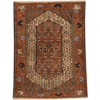 Herat Oriental Persian Hand-knotted Tribal Quchan Ivory/ Rust Wool Rug (4'2 x 5'7)