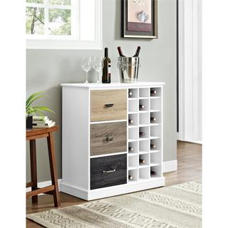 Altra Mercer White Wine Cabinet with Multicolored Door Fronts