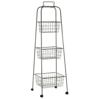 Metal Storage 3 Tiered Cart with Mesh Design and 4 Casters Coated Finish Antique Gray