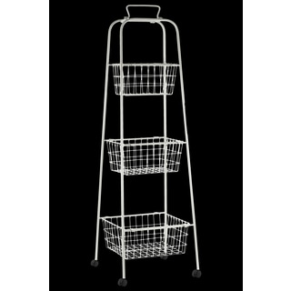 Antique White Finish Metal Mesh 3-Tiered Storage Cart with 4 Casters